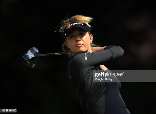 Nelly Korda of the United States hits her tee shot on the 4th hole during the final round of the Canadian Pacific Women's Open at the Ottawa Hunt...