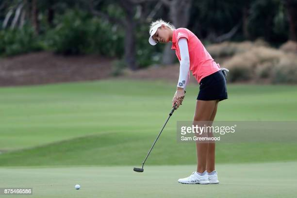Nelly Korda of the United States plays a shot on the 14th hole during round two of the CME Group Tour Championship at the Tiburon Golf Club on...