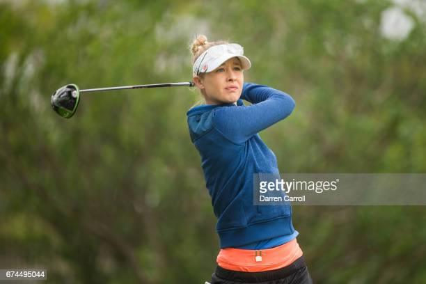 Nelly Korda of the United States plays a tee shot at the second hole during the second round of the Volunteers of America North Texas Shootout at Las...