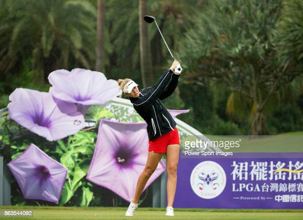 Nelly Korda of the United States tees off on the 12th hole during day two of the Swinging Skirts LPGA Taiwan Championship on October 20 2017 in...