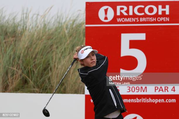 Nelly Korda of the United States tees off on the 5th hole during a proam round prior to the Ricoh Women's British Open at Kingsbarns Golf Links on...