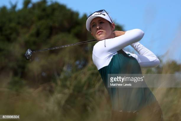 Nelly Korda of the United States tees off on the 5th hole during the first round of the Ricoh Women's British Open at Kingsbarns Golf Links on August...