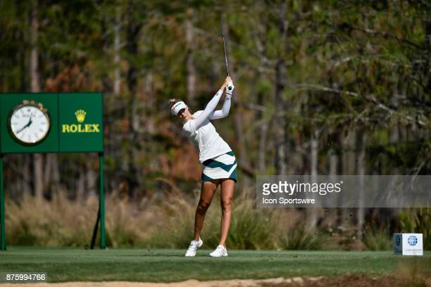 Nelly Korda of the United States tees off on the eighth hole during the third round of the LPGA CME Group Championship at Tiburon Golf Club on...