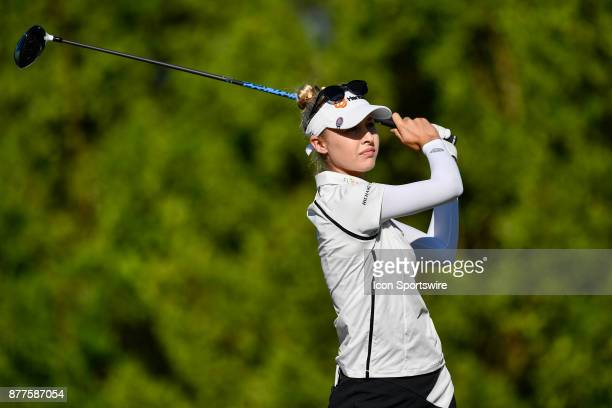 Nelly Korda of the United States tees off on the first hole during the final round of the LPGA CME Group Championship at Tiburon Golf Club on...