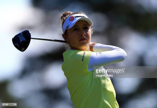 Nelly Korda of the United States watches her drive on the 9th hole during round one of the Canadian Pacific Women's Open at the Ottawa Hunt Golf Club...