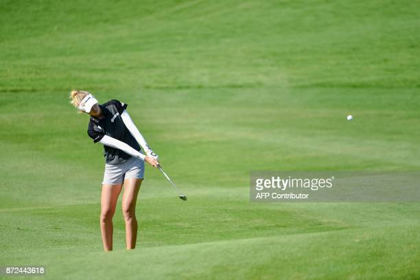 Nelly Korda of the US plays a shot during the Blue Bay LPGA tournament at Jian Lake Blue Bay Golf Course in Sanya on China's southern Hainan province...