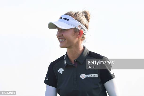 Nelly Korda of United States plays a shot on the 18th hole during the third round of the Blue Bay LPGA at Jian Lake Blue Bay golf course on November...