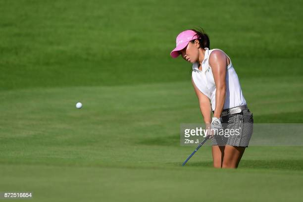 Nelly Korda of United States plays a shot on the 6th hole during the third round of the Blue Bay LPGA at Jian Lake Blue Bay golf course on November...