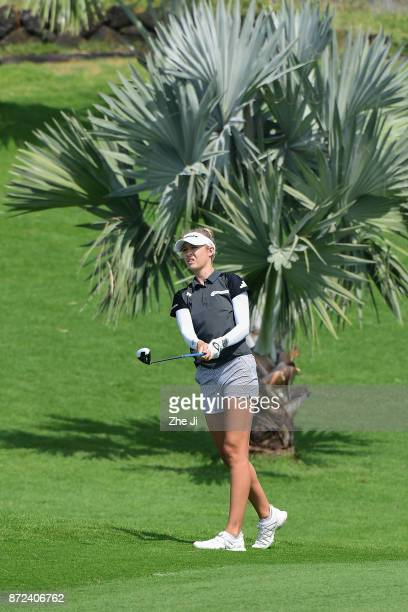 Nelly Korda of United States plays a shot on the 8th hole during the third round of the Blue Bay LPGA at Jian Lake Blue Bay golf course on November...