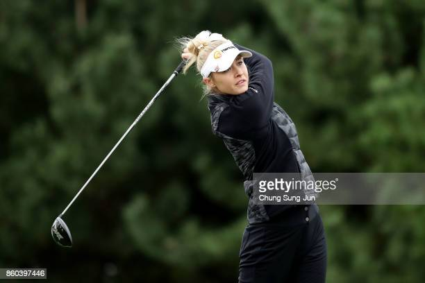 Nelly Korda of United States plays a tee shot on the 2nd hole during the first round of the LPGA KEB Hana Bank Championship at the Sky 72 Golf Club...
