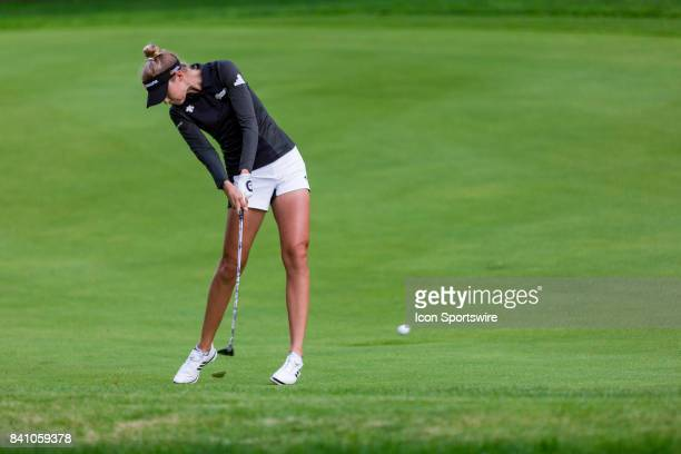 Nelly Korda plays a shot on the fairway of the 9th hole during the final round of the Canadian Pacific Women's Open on August 27 2017 at The Ottawa...