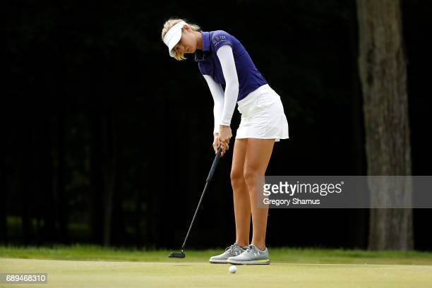 Nelly Korda putts on the sixth green during the final round of the LPGA Volvik Championship on May 28 2017 at Travis Pointe Country Club Ann Arbor...