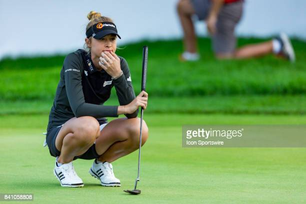 Nelly Korda surveys the green before her putt on the 18th hole during the final round of the Canadian Pacific Women's Open on August 27 2017 at The...