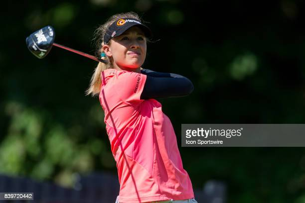 Nelly Korda tees off on the 1st hole during the third round of the Canadian Pacific Women's Open on August 26 2017 at The Ottawa Hunt and Golf Club...