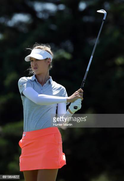 Nelly Korda watches her second shot on the sixth hole during the second round of the ShopRite LPGA Classic presented by Acer on the Bay Course at...