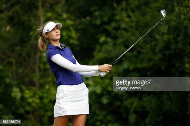 Nelly Korda watches her tee shot on the seventh hole during the final round of the LPGA Volvik Championship on May 28 2017 at Travis Pointe Country...