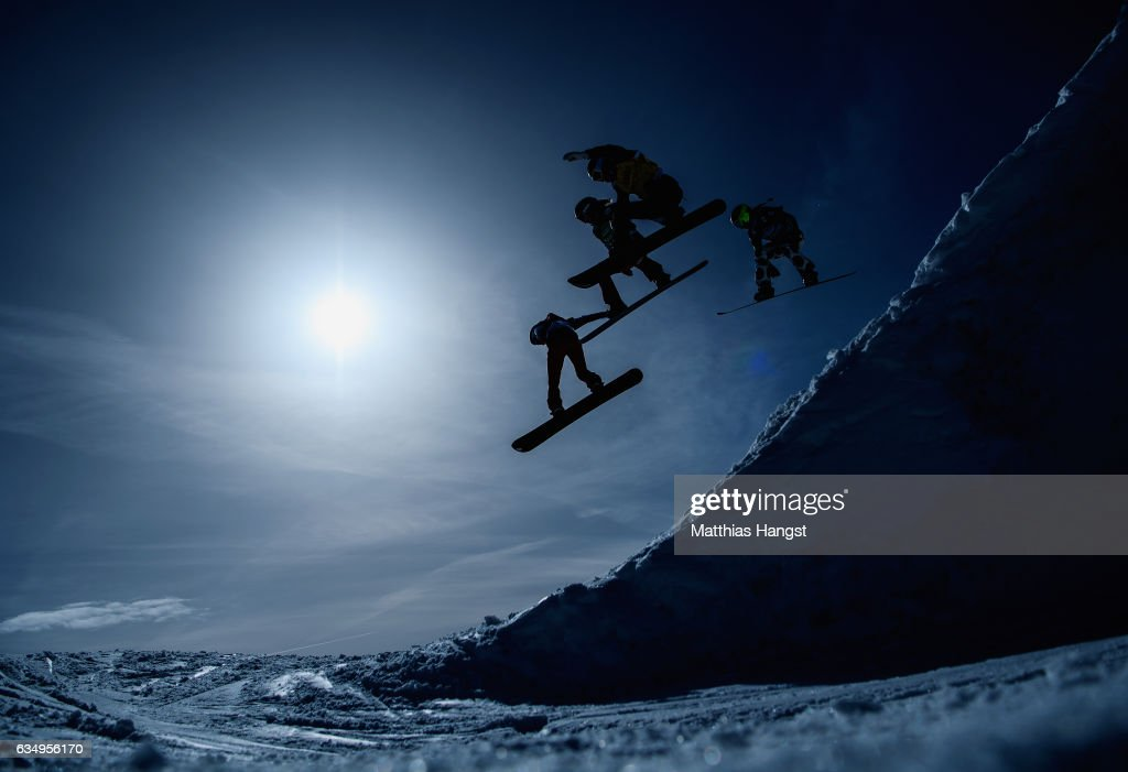 Nelly Moenne Loccoz of France, Michela Moioli of Italy, Faye Gulini of the Unites States and Charlotte Banke of France compete in the Women Small Final during the Snowboard Cross World Cup on February 12, 2017 in Hinterzarten, Germany.