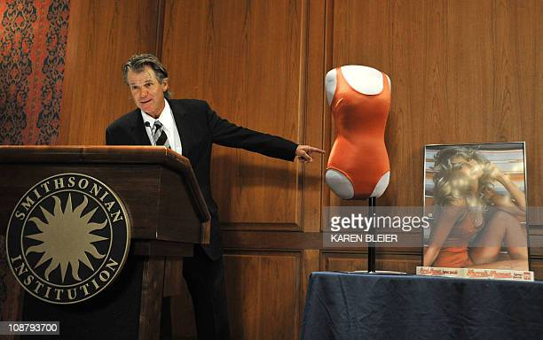 Nels Van Patten tennis coach to the late actress Farrah Fawcett speaks during a ceremony in which items belonging Fawcett were enshrined in the...