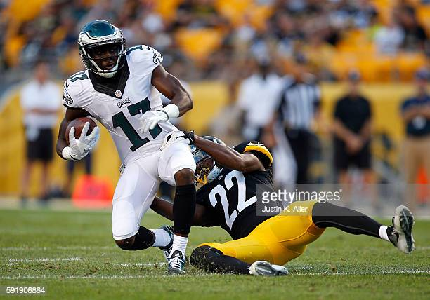 Nelson Agholor of the Philadelphia Eagles makes a catch against William Gay of the Pittsburgh Steelers during a preseason game on August 18 2016 at...
