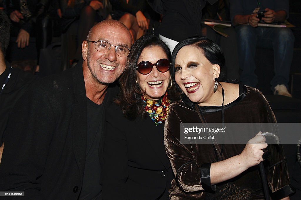 Nelson Alvarenga,Gloria Kalil and Regina Guerreiro attends the Ellus show during Sao Paulo Fashion Week Summer 2013/2014 on March 19, 2013 in Sao Paulo, Brazil.