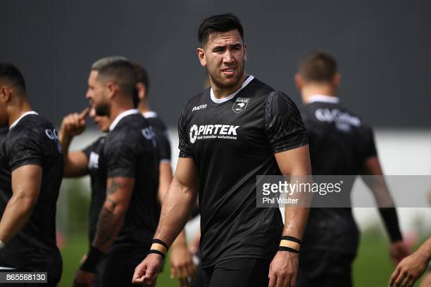 Nelson AsofaSolomona of the Kiwis passes during a New Zealand Kiwis Rugby League World Cup Training Session at the Warriors training Grounds on...