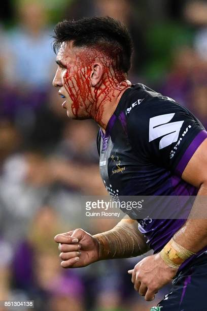 Nelson AsofaSolomona of the Storm heads off the field during the NRL Preliminary Final match between the Melbourne Storm and the Brisbane Broncos at...