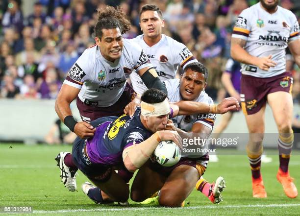 Nelson AsofaSolomona of the Storm scores a try during the NRL Preliminary Final match between the Melbourne Storm and the Brisbane Broncos at AAMI...
