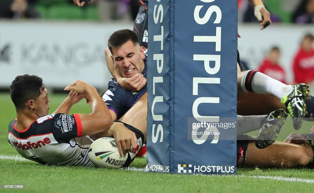 Nelson Asofa-Solomona of the Storm scores a try during the round eight NRL match between the Melbourne Storm and the New Zealand Warriors at AAMI Park on April 25, 2017 in Melbourne, Australia.