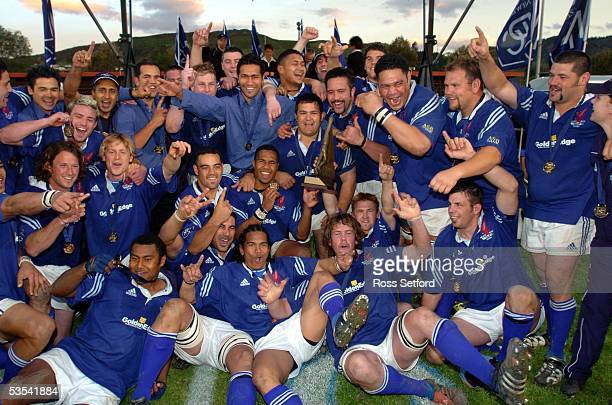 Nelson Bays celebrate their winning of the second division NPC trophy after defeating Hawkes Bay 1914 in the final at Trafalgar Park Nelson New...