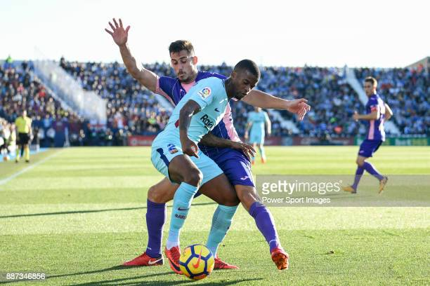 Nelson Cabral Semedo of FC Barcelona fights for the ball with Gabriel Appelt Pires of CD Leganes during the La Liga 201718 match between CD Leganes...