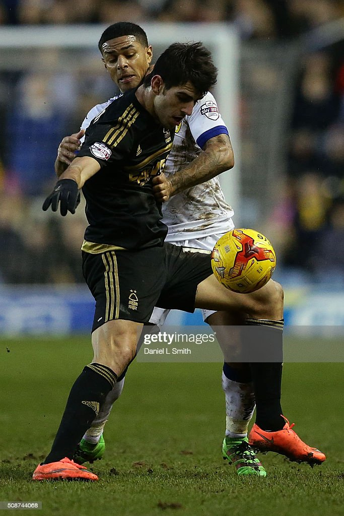 Nelson Castro Oliveira of Nottingham Forest FC and Liam Bridgett of Leeds United FC compete for the ball during the Sky Bet Championship match between Leeds United and Nottingham Forest on February 6, 2016 in Leeds, United Kingdom.