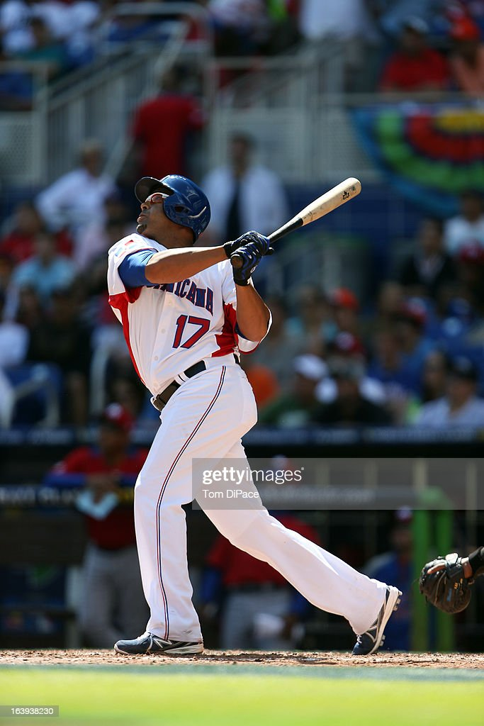 Nelson Cruz #17 of Team Dominican Republic bats during Pool 2, Game 6 against Team Puerto Rico in the second round of the 2013 World Baseball Classic on Saturday, March 16, 2013 at Marlins Park in Miami, Florida.