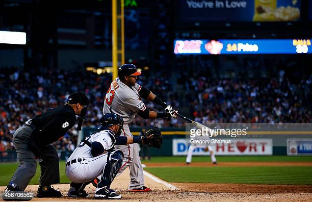Nelson Cruz of the Baltimore Orioles bats against the Detroit Tigers during Game Three of the American League Division Series at Comerica Park on...