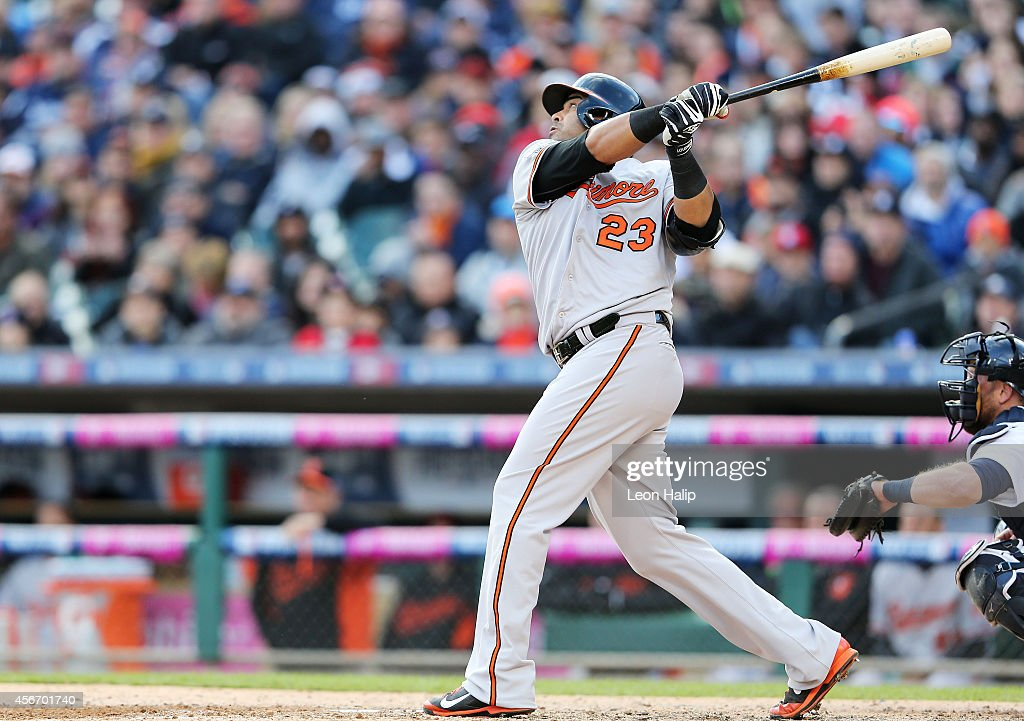<a gi-track='captionPersonalityLinkClicked' href=/galleries/search?phrase=Nelson+Cruz&family=editorial&specificpeople=235459 ng-click='$event.stopPropagation()'>Nelson Cruz</a> #23 of the Baltimore Orioles hits a home run in the sixth inning against the Detroit Tigers during Game Three of the American League Division Series at Comerica Park on October 5, 2014 in Detroit, Michigan.