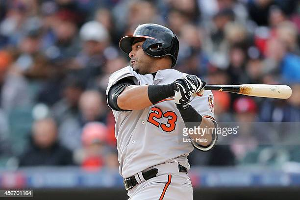 Nelson Cruz of the Baltimore Orioles hits a single in the fourth inning against the Detroit Tigers during Game Three of the American League Division...