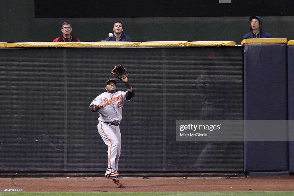 Nelson Cruz of the Baltimore Orioles makes the catch left field to retire Jonathan Lucroy of the Milwaukee Brewers during the bottom of the fifth...
