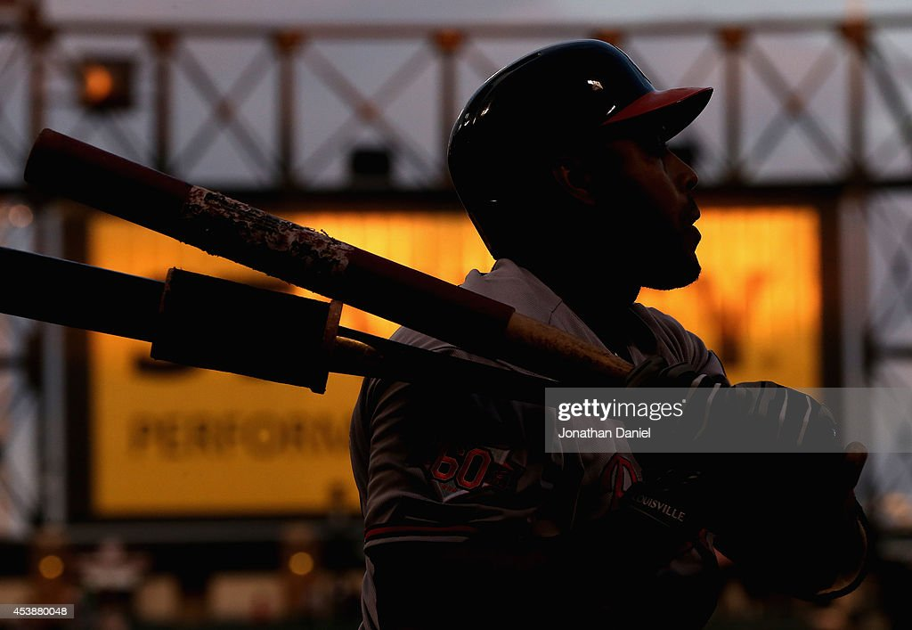 <a gi-track='captionPersonalityLinkClicked' href=/galleries/search?phrase=Nelson+Cruz&family=editorial&specificpeople=235459 ng-click='$event.stopPropagation()'>Nelson Cruz</a> #23 of the Baltimore Orioles prepares to bat against the Chicago White Sox at U.S. Cellular Field on August 20, 2014 in Chicago, Illinois.