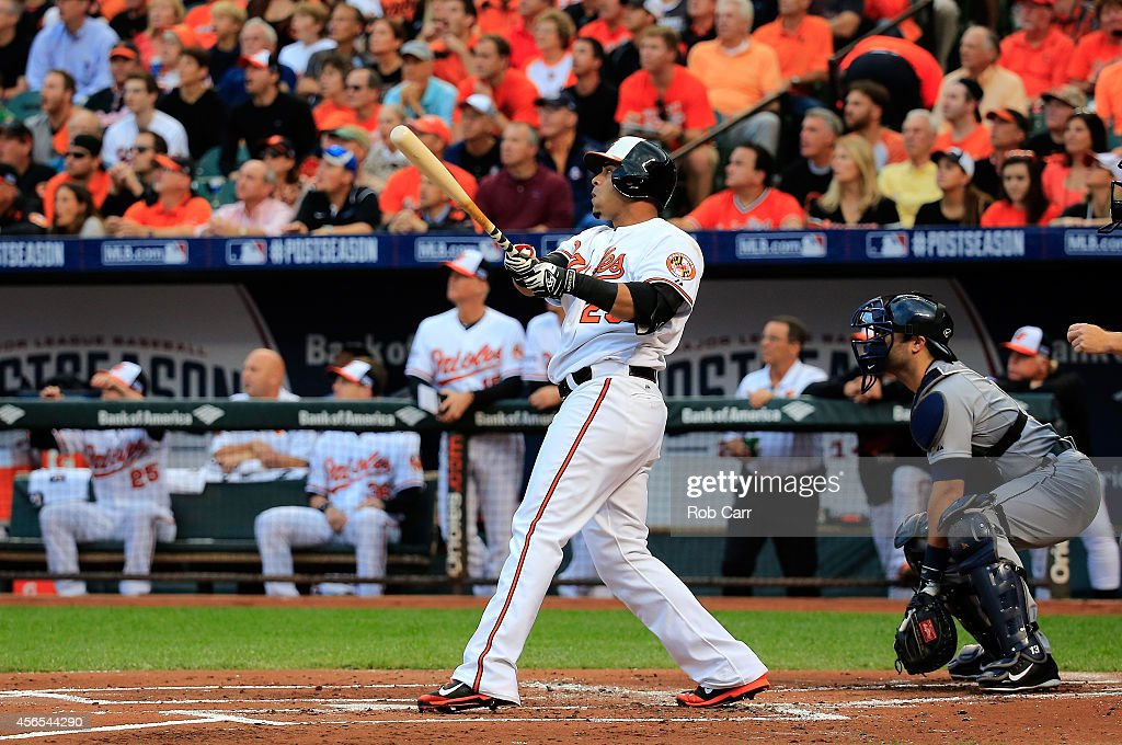 <a gi-track='captionPersonalityLinkClicked' href=/galleries/search?phrase=Nelson+Cruz&family=editorial&specificpeople=235459 ng-click='$event.stopPropagation()'>Nelson Cruz</a> #23 of the Baltimore Orioles watches as he hits a two run home run to right center field against Max Scherzer #37 of the Detroit Tigers in the first inning during Game One of the American League Division Series at Oriole Park at Camden Yards on October 2, 2014 in Baltimore, Maryland.