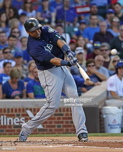 Nelson Cruz of the Seattle Mariners hits a two run home run in the 1st inning against the Chicago Cubs at Wrigley Field on July 31 2016 in Chicago...