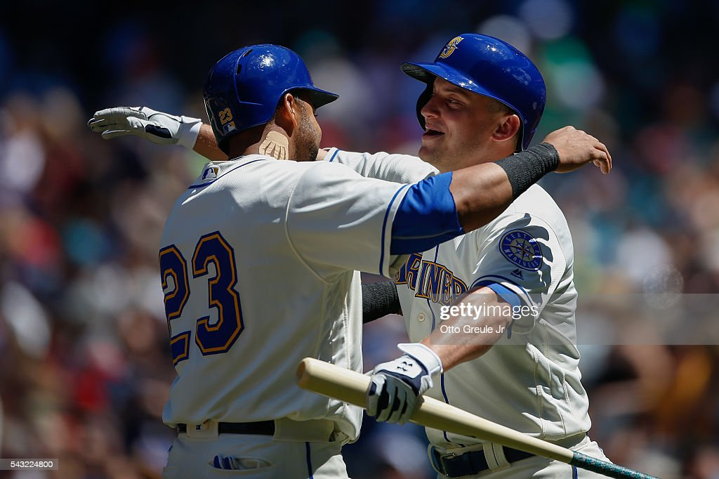 <a gi-track='captionPersonalityLinkClicked' href=/galleries/search?phrase=Nelson+Cruz&family=editorial&specificpeople=235459 ng-click='$event.stopPropagation()'>Nelson Cruz</a> #23 of the Seattle Mariners is congratulated by Kyle Seager #15 after hitting a home run in the third inning against the St. Louis Cardinals at Safeco Field on June 26, 2016 in Seattle, Washington.