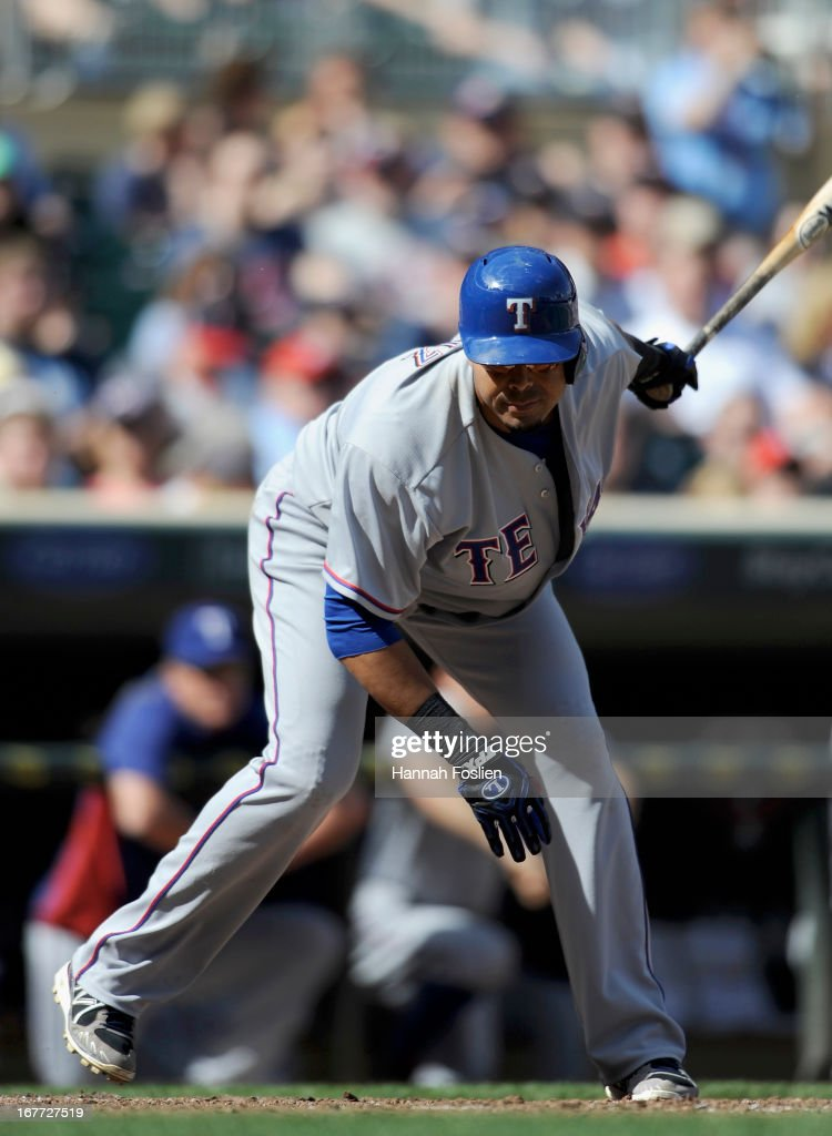 Nelson Cruz #17 of the Texas Rangers reacts to striking out against the Minnesota Twins during the ninth inning of the game on April 28, 2013 at Target Field in Minneapolis, Minnesota. The Twins defeated the Ranger 5-0.
