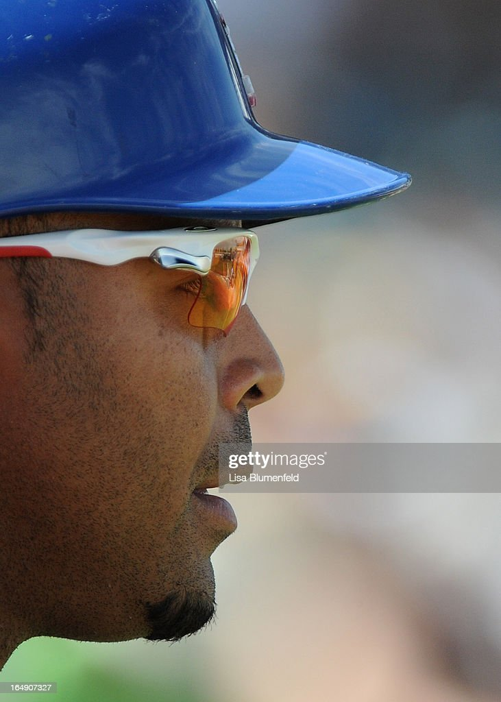 Nelson Cruz #17 of the Texas Rangers waits on deck during the game against the Chicago White Sox at Surprise Stadium on March 26, 2013 in Surprise, Arizona.