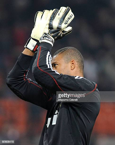Nelson Dida of AC Milan cheers his fans during the Serie A match between AC Milan and Parma FC at Stadio Giuseppe Meazza on October 31 2009 in Milan...