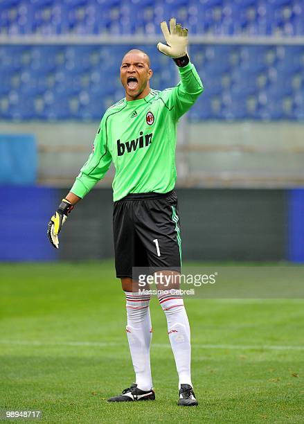 Nelson Dida of AC Milan reacts during the Serie A match between Genoa CFC and AC Milan at Stadio Luigi Ferraris on May 9 2010 in Genoa Italy