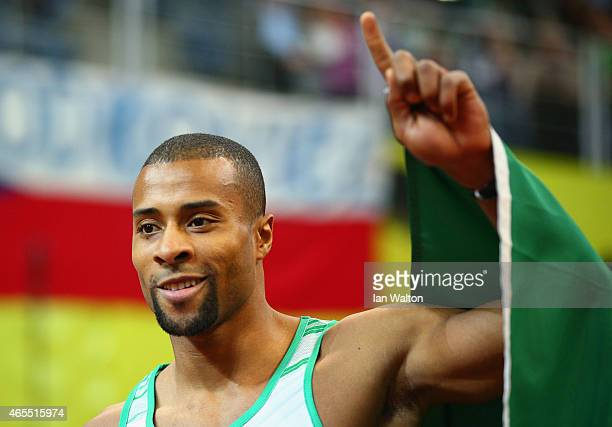 Nelson Evora of Portgual celebrates winning gold in the Men's Triple Jump Final during day two of the 2015 European Athletics Indoor Championships at...