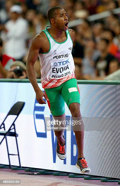 Nelson Evora of Portugal celebrates after competing in the Men's Triple Jump final during day six of the 15th IAAF World Athletics Championships...