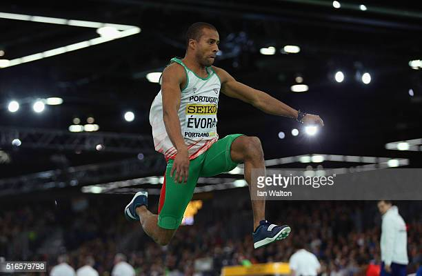 Nelson Evora of Portugal competes in the Men's Triple Jump Final during day three of the IAAF World Indoor Championships at Oregon Convention Center...