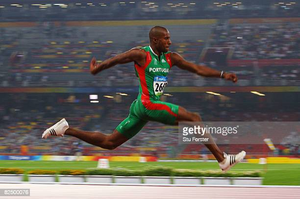 Nelson Evora of Portugal competes in the Men's Triple Jump Final held at the National Stadium during Day 13 of the Beijing 2008 Olympic Games on...