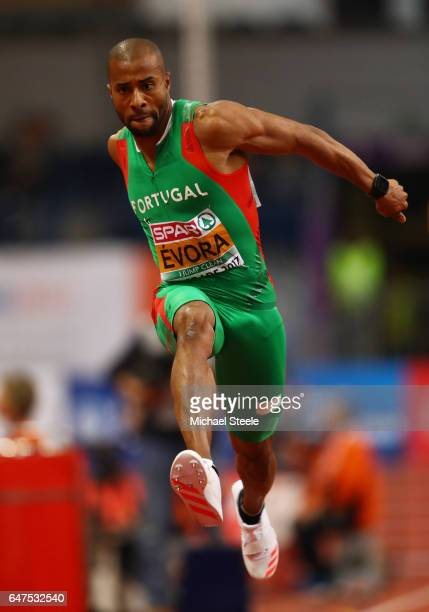 Nelson Evora of Portugal competes in the Men's Triple Jump qualification on day one of the 2017 European Athletics Indoor Championships at the...