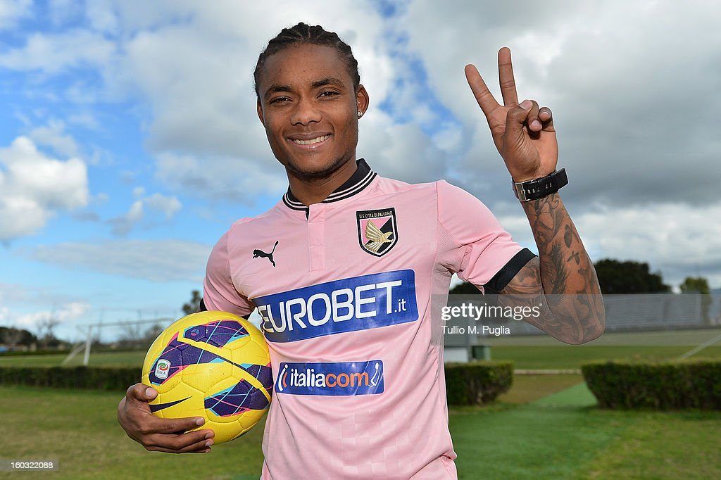 Nelson gestures wearing his team shirt before his presentation as a new player of Palermo at Tenente Carmelo Onorato Sports Center on January 29, 2013 in Palermo, Italy.